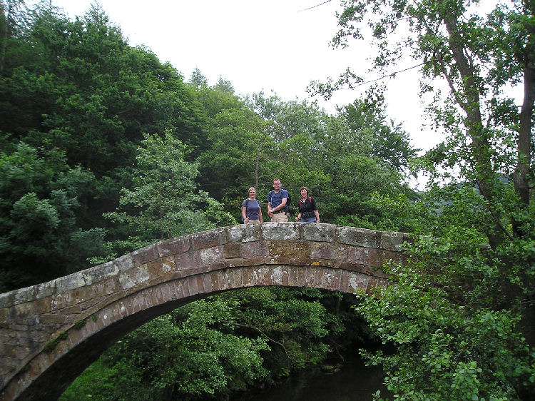 Dale, Pat and Miriam on Beggars Bridge at Glaisdale