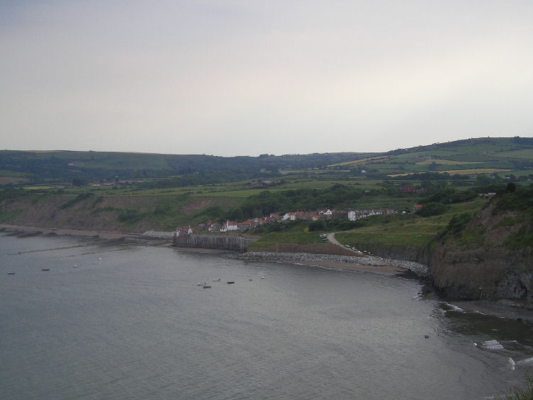 Robin Hood's Bay from the cliff tops
