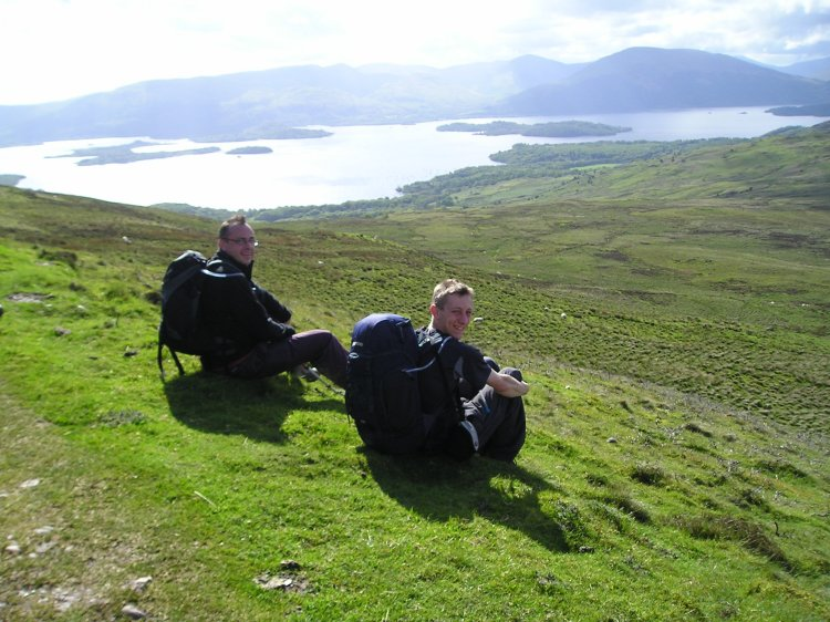 Matt and Dale take a well earned rest on Conic Hill