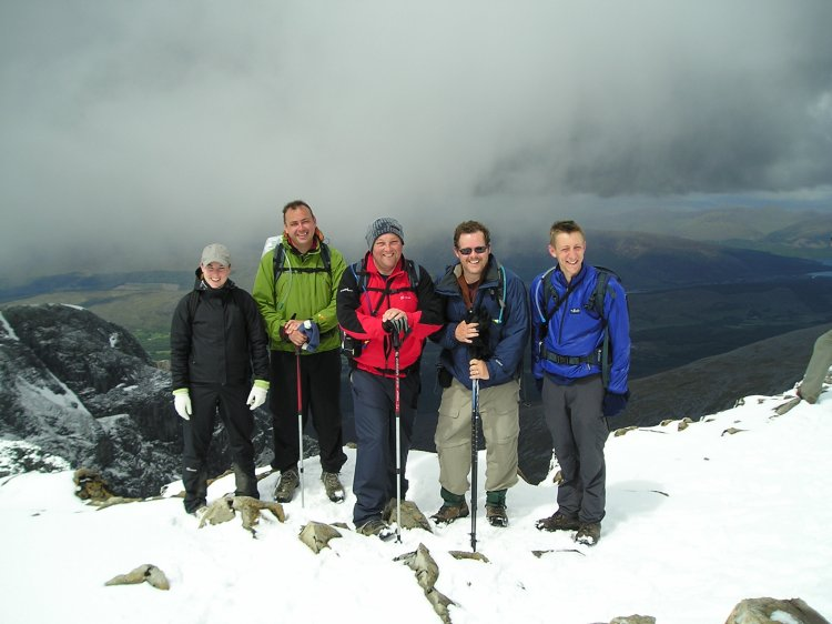Hilary, dale, me, Bruce, and Matt at the top feeling very pleased with ourselves